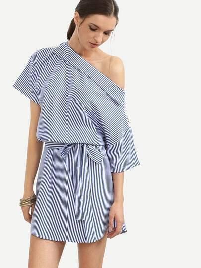 Blue Striped One Shoulder Tie Waist Dress