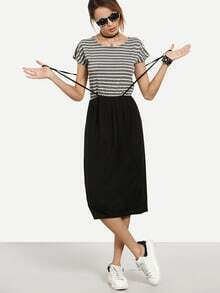 Grey White Striped 2 in 1 Dress