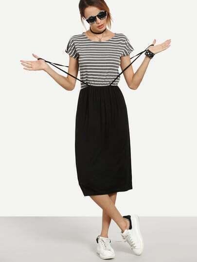 Grey White Striped 2 in 1 Dress