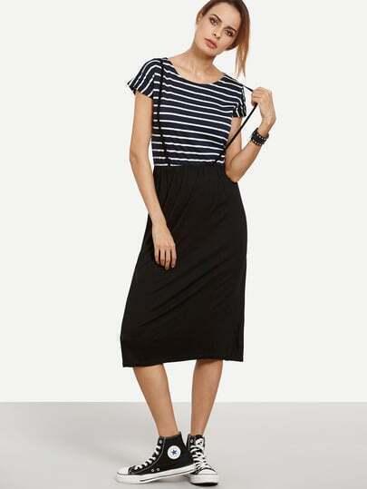 Navy White Striped 2 in 1 Dress