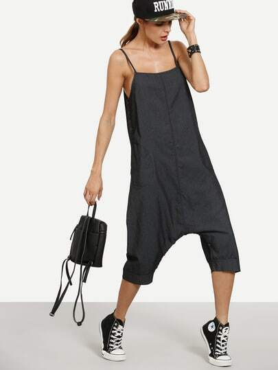 Black Buttoned Drop Crotch Denim Cami Jumpsuit