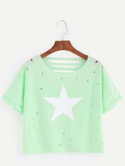 Green Star Print Ripped Roll Sleeve T-shirt