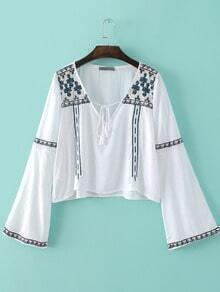 White Bell Sleeve V Neck Embroidery Tassel Blouse