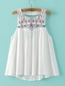 White Sleeveless Embroidery Cutout Back Blouse
