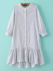 Grey Stripe Buttons Front Ruffle Hem Dress