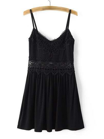 Black Spaghetti Strap Crochet Pleated Top