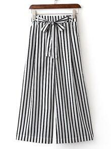 Black And White Stripe Wide Leg Pants With Belt