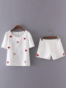 White Heart Embroidery Blouse With Elastic Waist Shorts