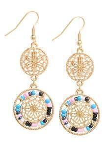 Multicolor Beads Hollow Drop Earrings