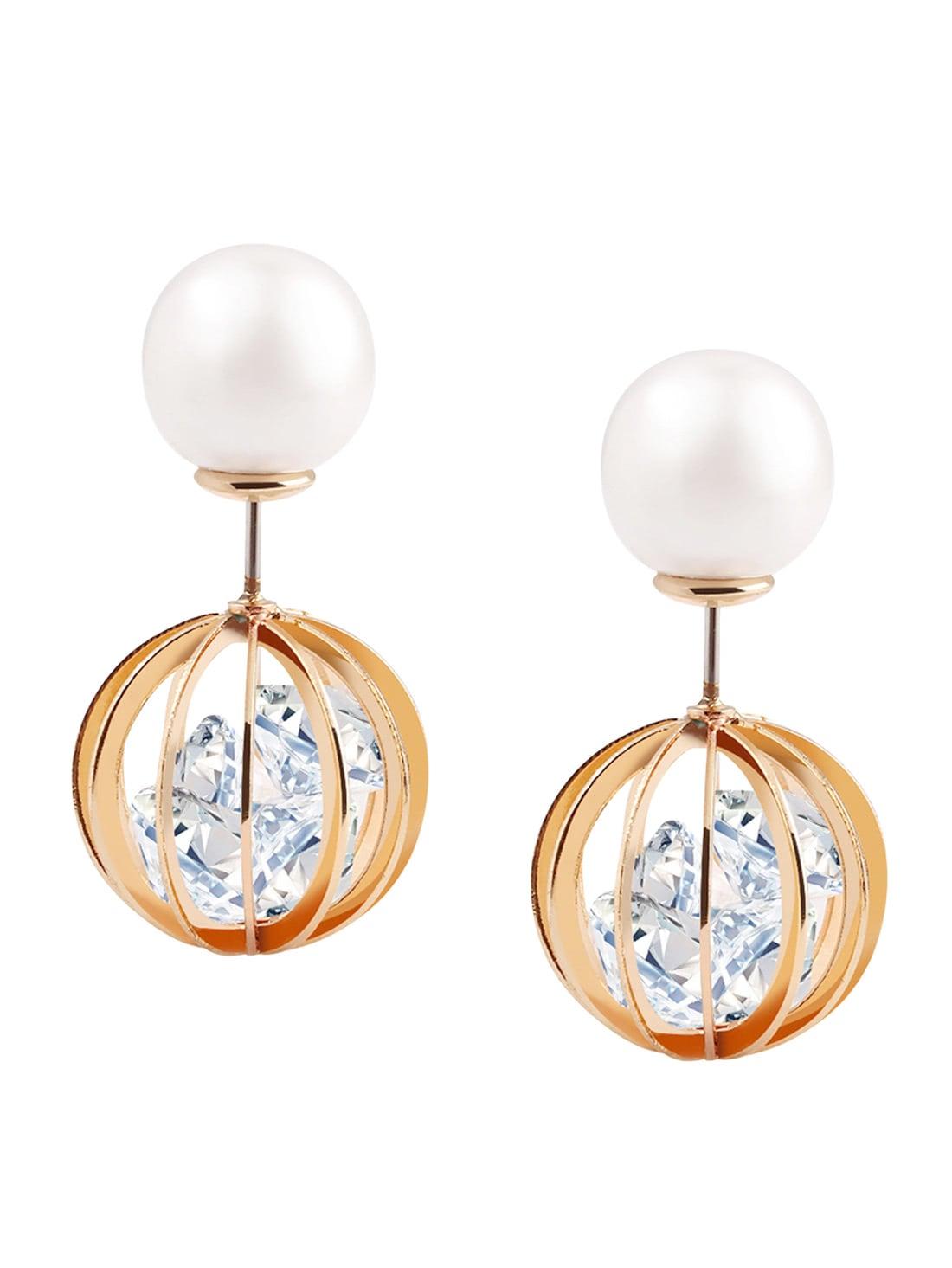 Купить со скидкой Pearl Rhinestone Hollow Globe Double Stud Earrings