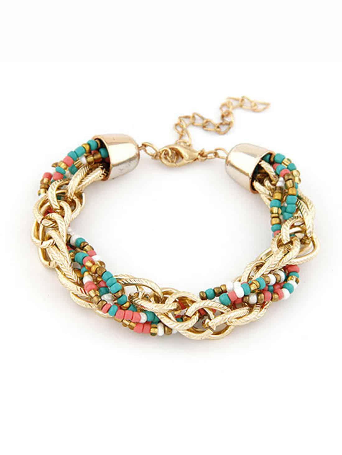 Фото Multicolor Beads Metal Chain Handmade Bracelet. Купить с доставкой