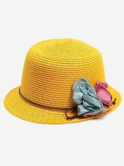 Yellow Collapsible Flower Straw Bucket Hat