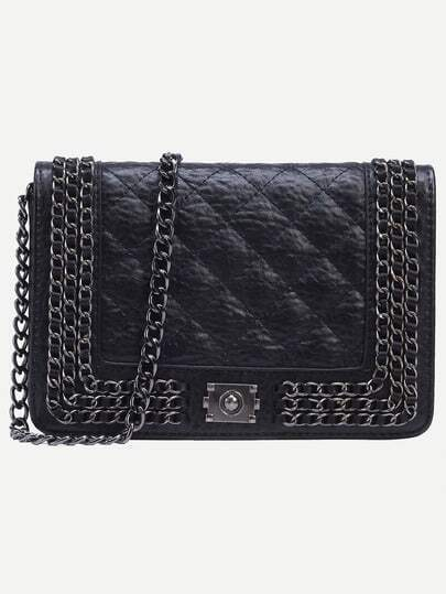 Black Quilted Chain Trimmed Flap Bag