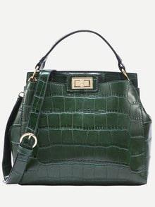 Зелёная сумка с крокодиловым принтом