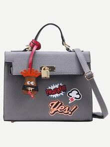 Grey Pebbled Faux Leather Graffiti Print Satchel Bag