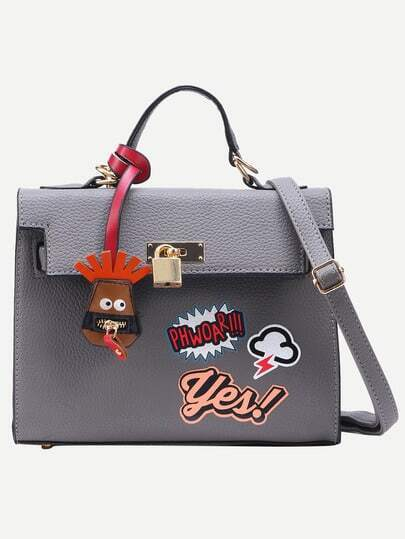 Grey Pebbled PU Graffiti Print Satchel Bag