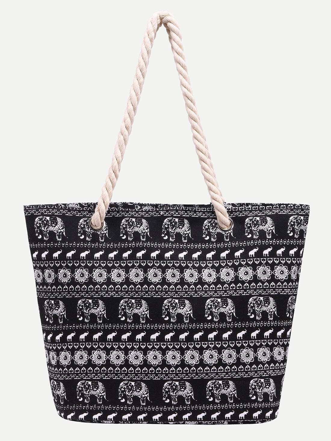 Фото Black Elephant Print Canvas Tote Bag. Купить с доставкой