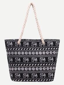 حقيبة قماش سوداء بطباعة فيل