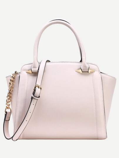 Ivory Faux Leather Trapeze Satchel Bag