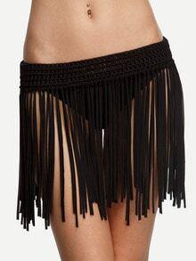 Black Macrame Fringe Bikini Bottom