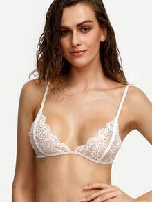 White Scalloped Lace Triangle Bralet
