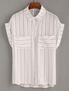 Brown Vertical Striped Dual Pocket Blouse