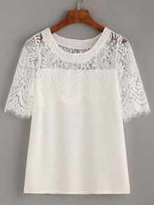 White Lace Insert Blouse