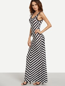 Black White Chevron Print Maxi Tank Dress