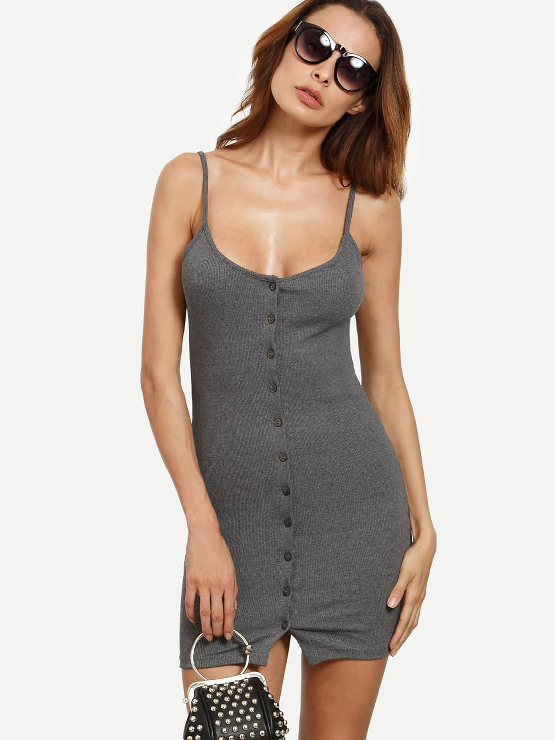 Grey Buttoned Front Ribbed Cami Dress dress160621102