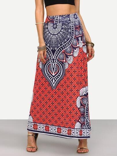 Red Tribal Print Maxi Skirt