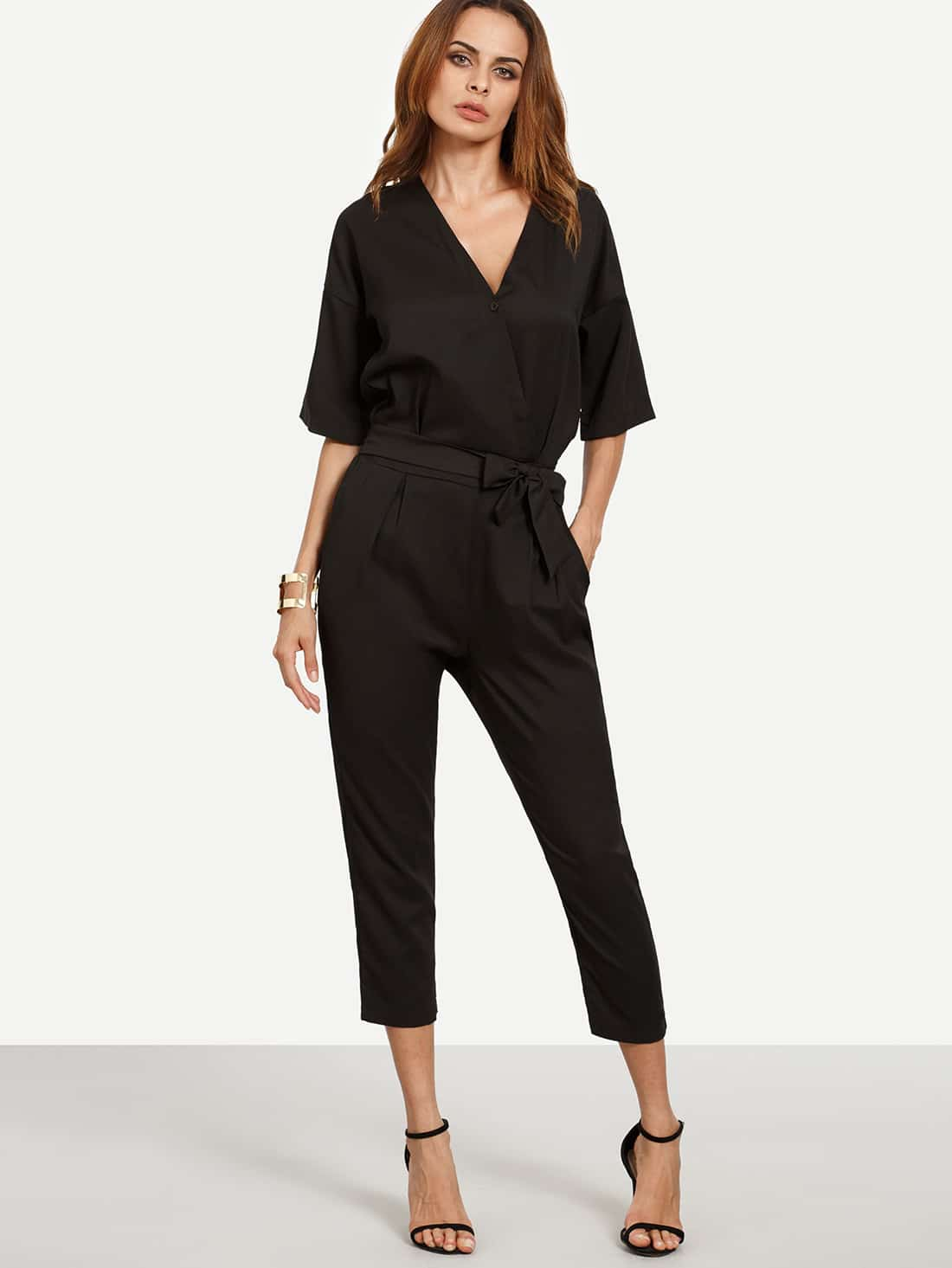 Drop Shoulder Button Surplice Front Self Tie Jumpsuit