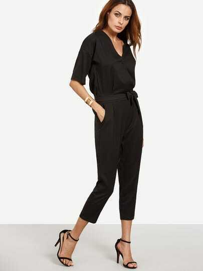 SheIn / Drop Shoulder Button Surplice Front Self Tie Jumpsuit