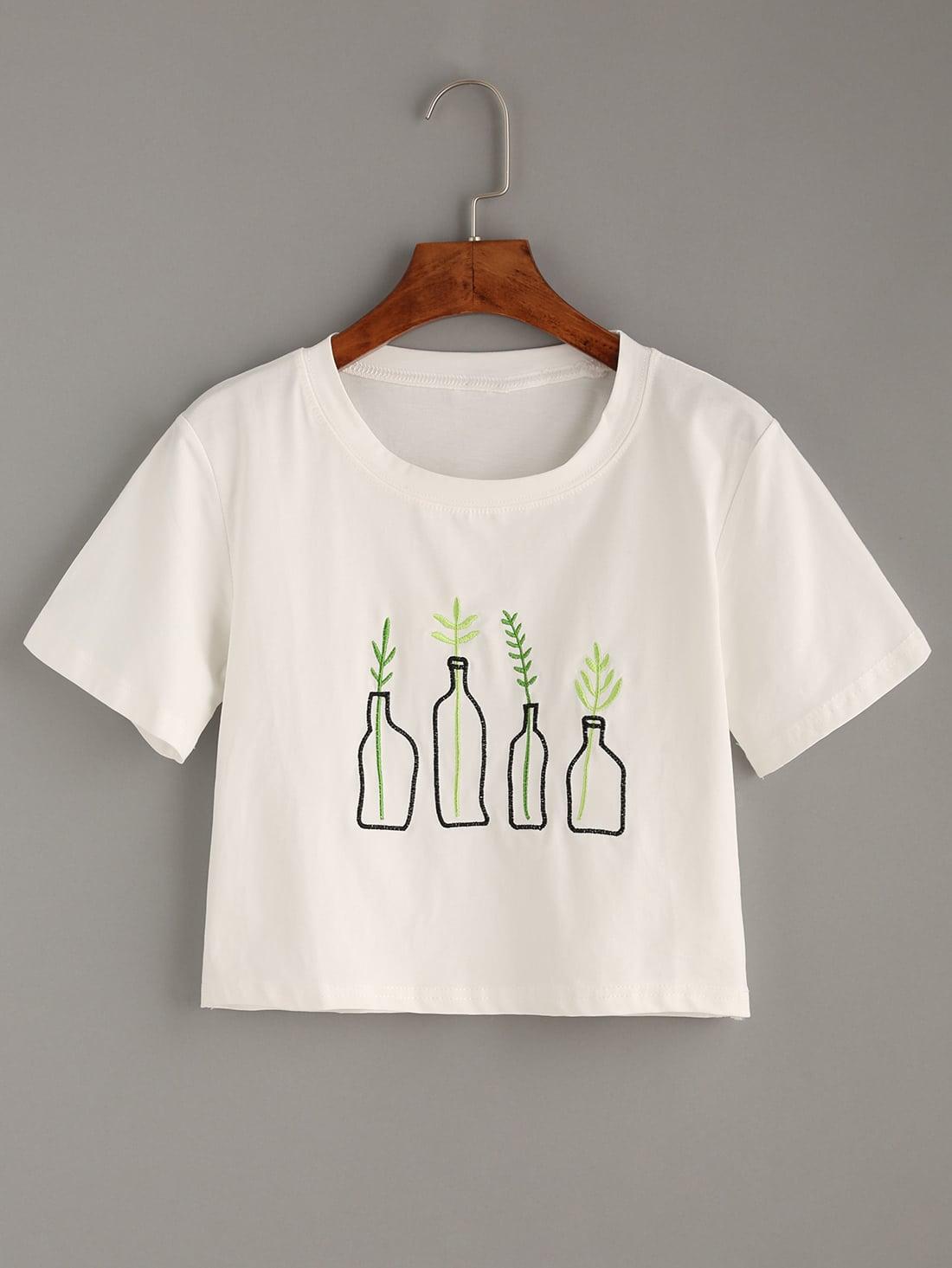 White plant embroidered t shirt shein sheinside