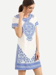 Blue Print in White Short Sleeve Shift Dress
