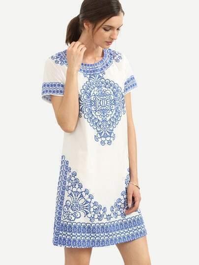 Blue Print in White Short Sleeve Shift Dress