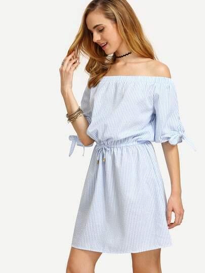 Blue Striped Off The Shoulder Tie Waist Dress