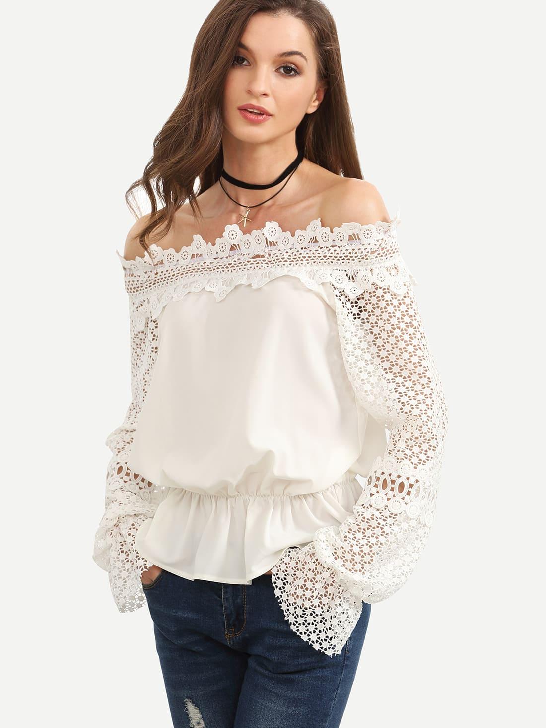 Фото Bardot Contrast Crochet Elasticized Waist Blouse. Купить с доставкой