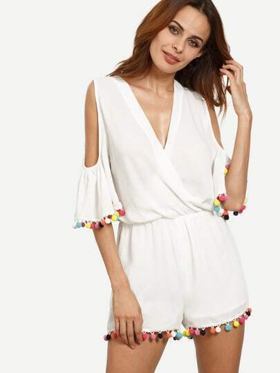 White Wrap Front Cold Shoulder Pom-pom Jumpsuit