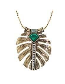 Rhinestone Leaf Shape Long Necklace