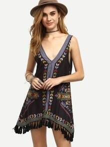 Vintage Placed Print V Neck Tassel Asymmetrical Dress