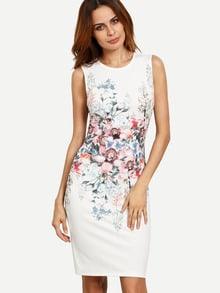 Multicolor Floral Sleeveless Split Sheath Dress