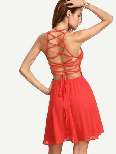 Red Sleeveless Lace-up Back Skater Dress