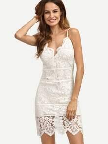 White Spaghetti Strap Backless Lace Dress