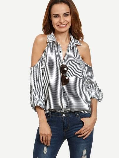 Striped Button Down Open Shoulder Blouse