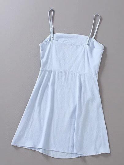 Blue Adjustable Strap A-line Slim Dress