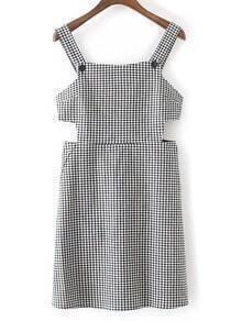 Black And White Plaid Cutout Zipper Dress
