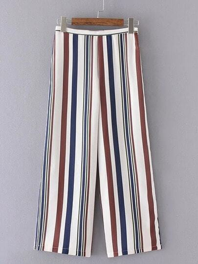 Multicolor Vertical Stripe Wide Leg Pants