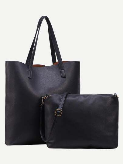 Black Faux Leather Tote Bag With Crossbody Bag