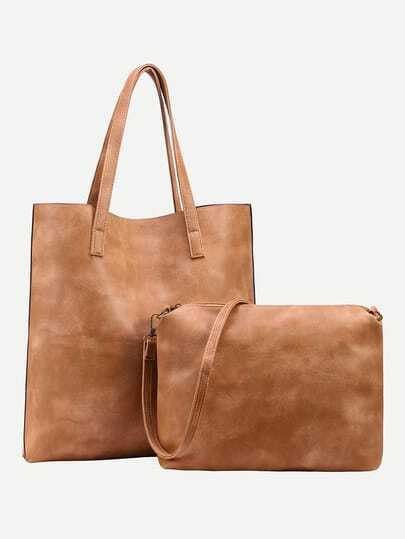 Brown Faux Leather Tote Bag With Crossbody Bag