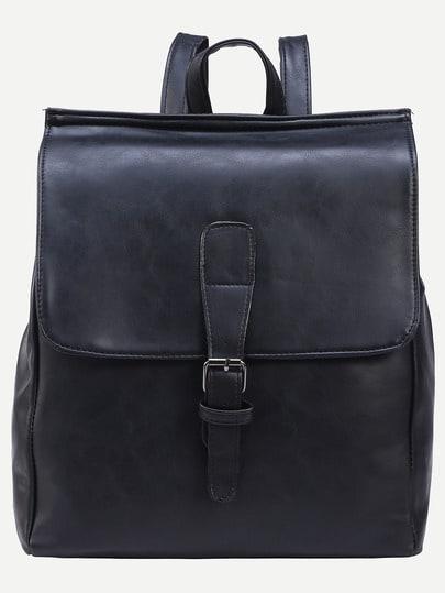 Black Buckled Strap Front Flap Backpack